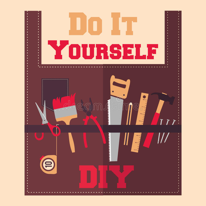 Do It Yourself tools on apron stock illustration