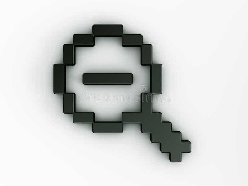 Do zoom cursor do rato para fora em 3d ilustração royalty free