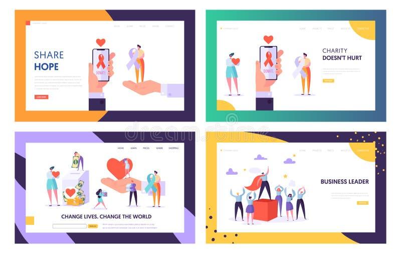 A doação, caridade, voluntários trabalha e o grupo dos moldes da página da aterrissagem do Web site da liderança, mundo da m ilustração do vetor