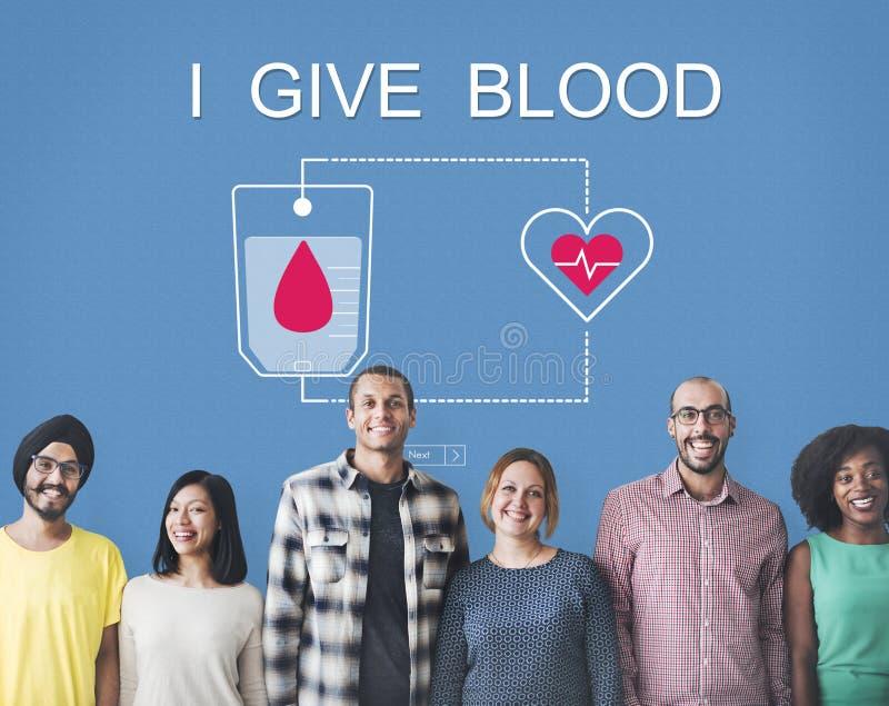 A doação de sangue dá o conceito da transfusão da vida fotografia de stock
