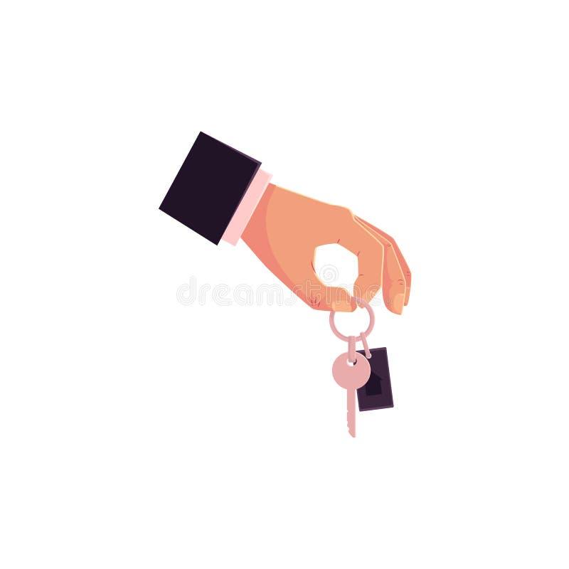Doação masculina da mão dos desenhos animados, guardando chaves do carro ilustração royalty free