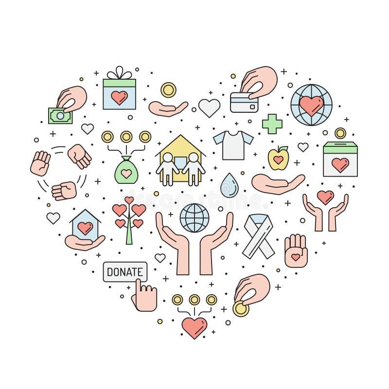 Doações e ilustração colorida caridade do coração do esboço ilustração royalty free