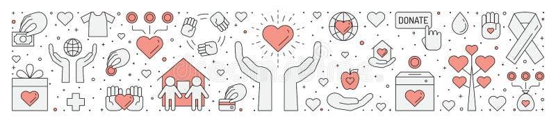 Doações e ilustração horizontal da caridade (vermelha e cinzenta) (fundo) Projeto simples do esboço ilustração do vetor