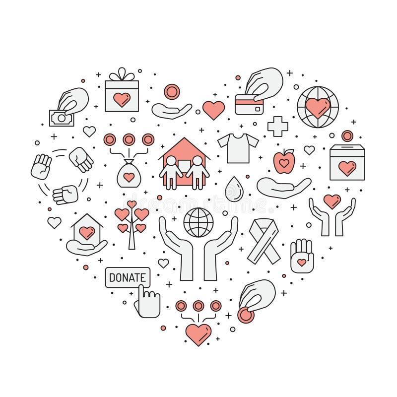 Doações e ilustração (vermelha e cinzenta) do coração da caridade (fundo) Projeto simples do esboço ilustração royalty free