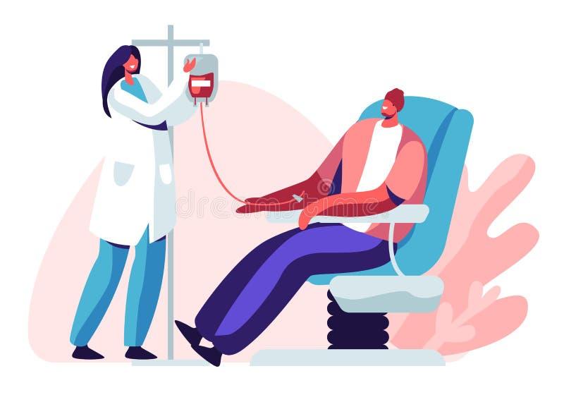 Doa??o de sangue O caráter masculino doa o sangue para os povos doentes, enfermeira fêmea Taking Lifeblood no recipiente plástico ilustração stock