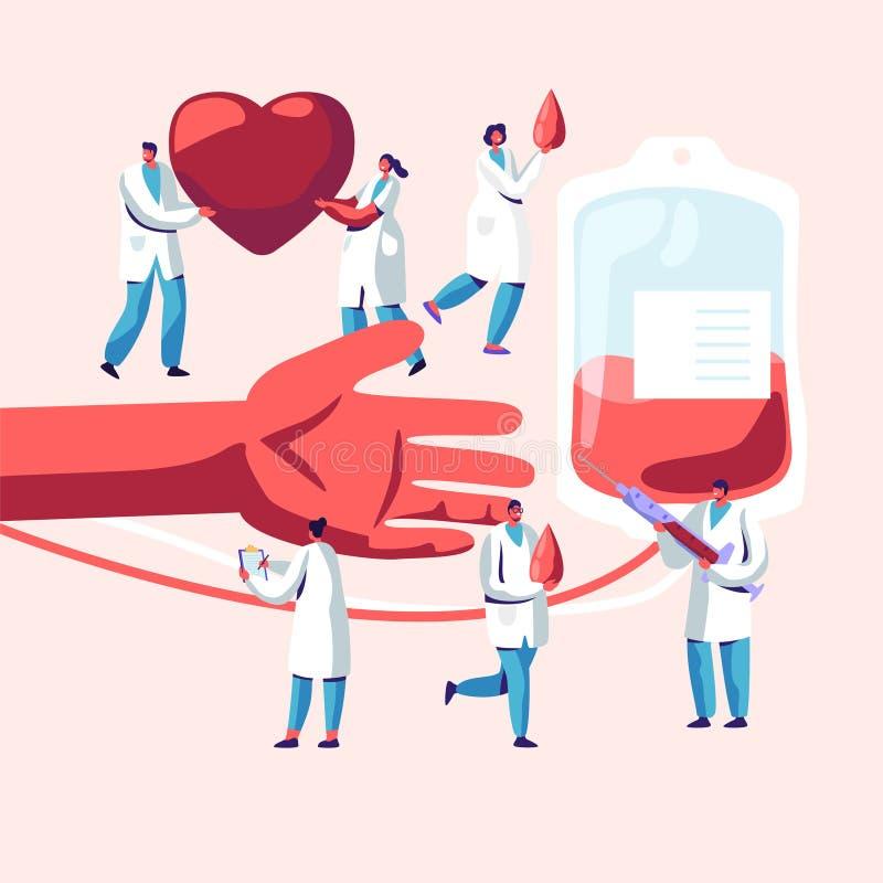Doa??o de sangue Caráteres masculinos, fêmeas na transfusão de fatura uniforme médica da seiva da mão humana ao recipiente plásti ilustração do vetor