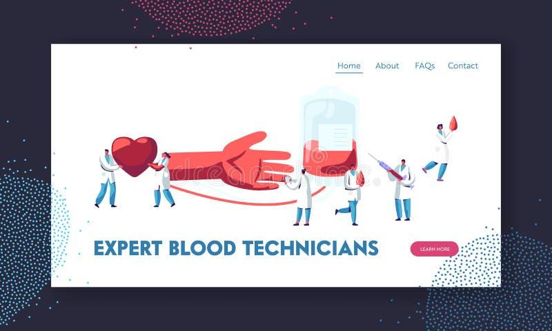 Doa??o de sangue Doutores e enfermeiras na transfusão de fatura uniforme médica da seiva da mão humana ao recipiente plástico no  ilustração stock