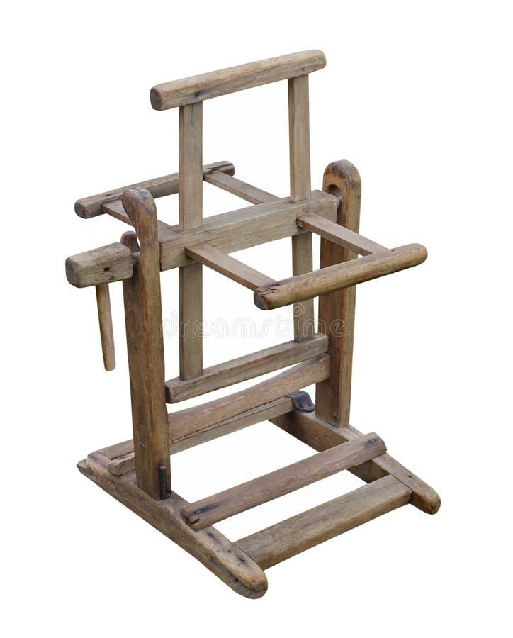 Dobadoura de madeira velha de lãs isolada fotos de stock royalty free