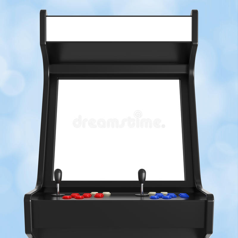 Dobbel Arcade Machine med den tomma skärmen för din design 3d sliter stock illustrationer