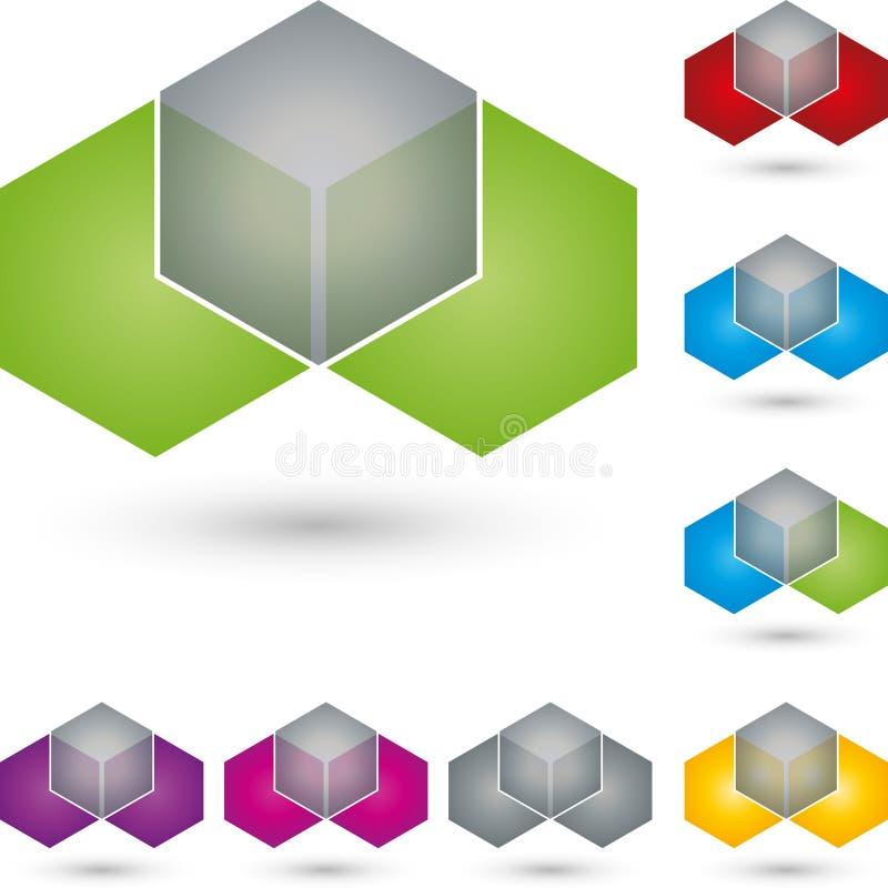 Dobbel en hexagon, IT diensten en ingenieursembleem stock illustratie