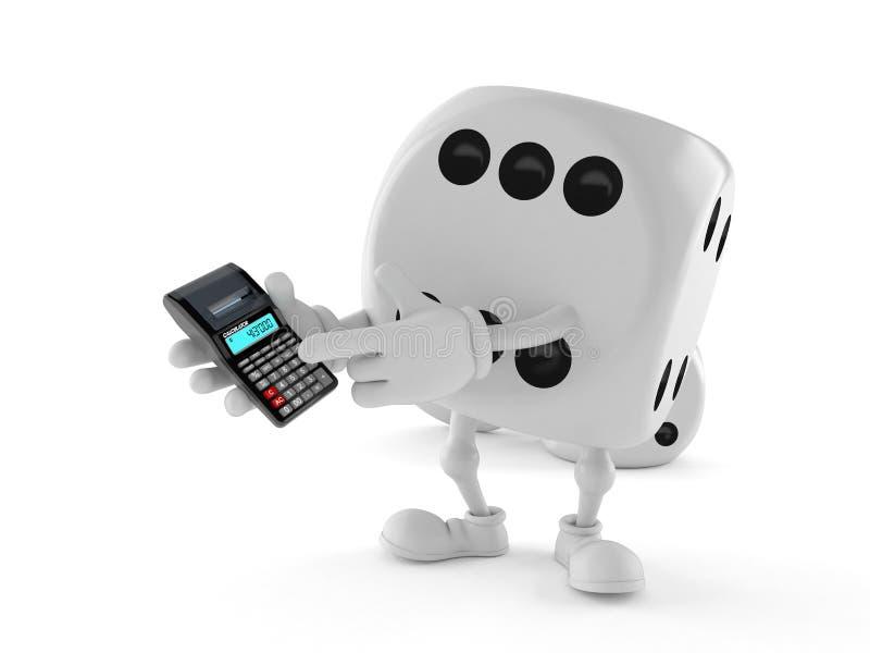 Dobbel karakter gebruikend calculator royalty-vrije illustratie
