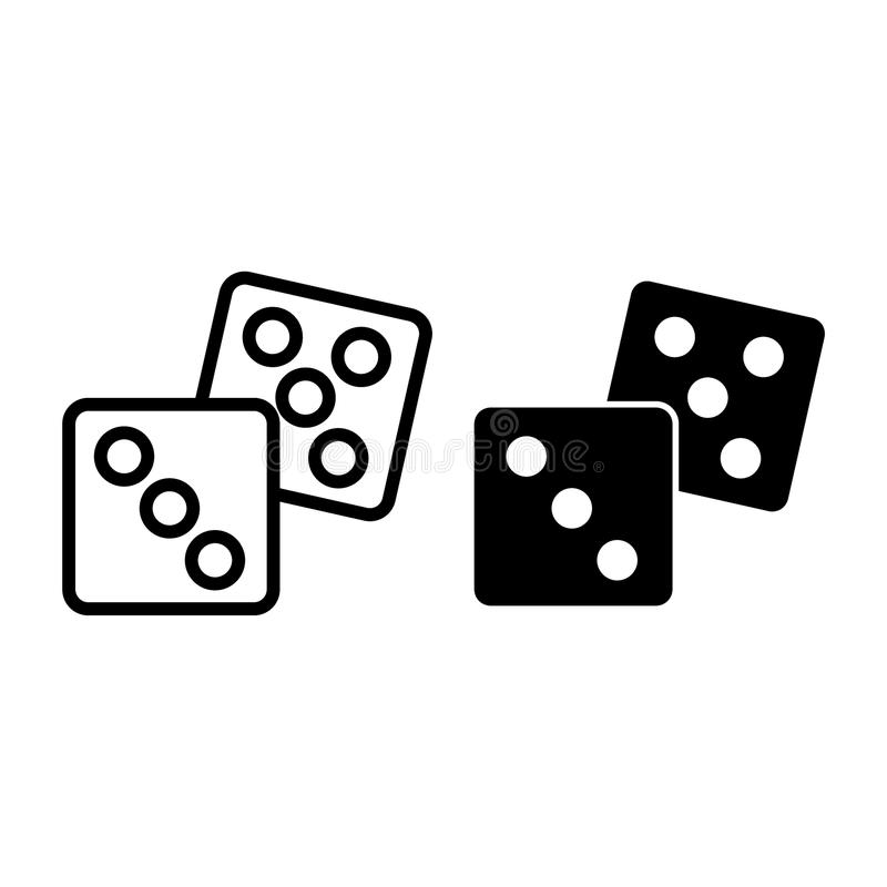 Dobbel lijn en glyph pictogram Casino vectordieillustratie op wit wordt geïsoleerd De stijlontwerp van het kubusoverzicht, voor W stock illustratie