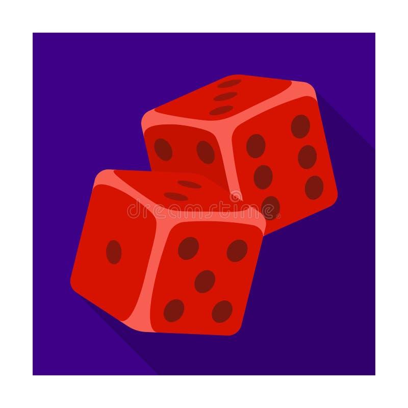 Dobbel voor spelen in het casino Stenen op de lijst voor goed geluk te werpen Kasino enig pictogram in vlak stijl vectorsymbool royalty-vrije illustratie