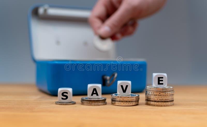 Dobbel vorm het woord 'sparen ' stock foto
