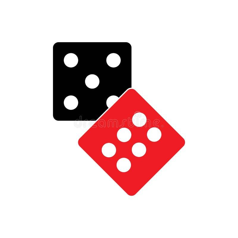 Dobbelt tekenpictogram Het symbool van het casinospel De vlakte dobbelt royalty-vrije illustratie