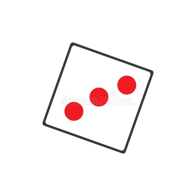 Dobbelt tekenpictogram Het symbool van het casinospel De vlakte dobbelt pictogram Ronde knoop met de vlakke Vector van het spelpi royalty-vrije illustratie