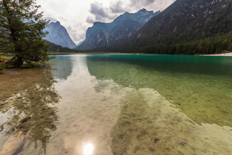 Dobbiaco lake stock image