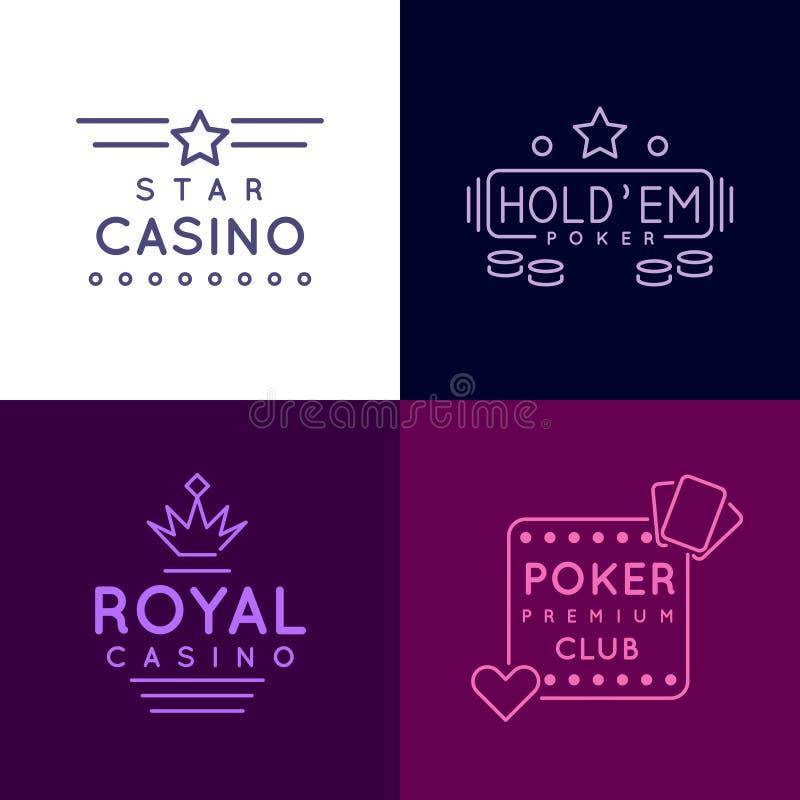Dobbleriemblem av den pokerklubban och kasinot Vektorsymbolsuppsättning i linjen stil royaltyfri illustrationer