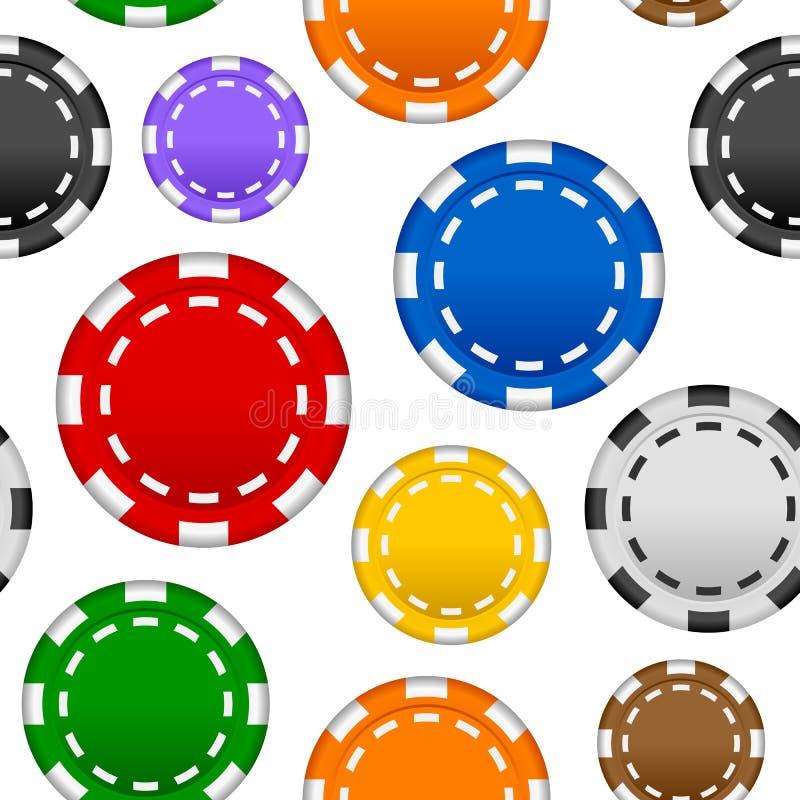 Dobbleripoker Chips Seamless Pattern royaltyfri illustrationer