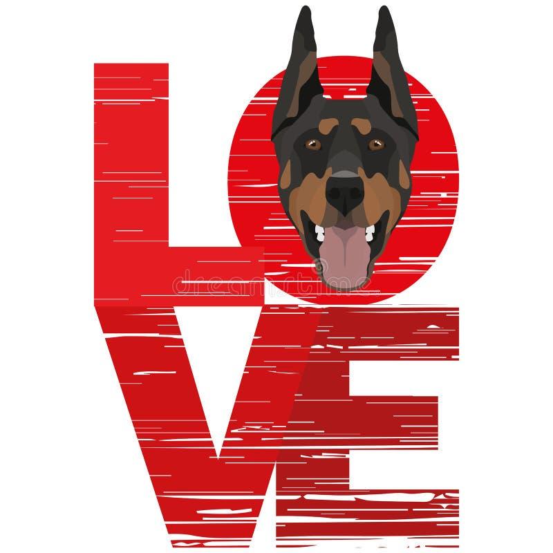 Doberman di amore illustrazione di stock