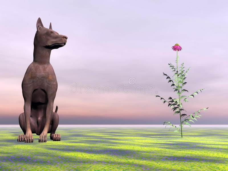 Download Doberman Dog Next To Beautiful Flower - 3D Render Stock Illustration - Image: 34358981
