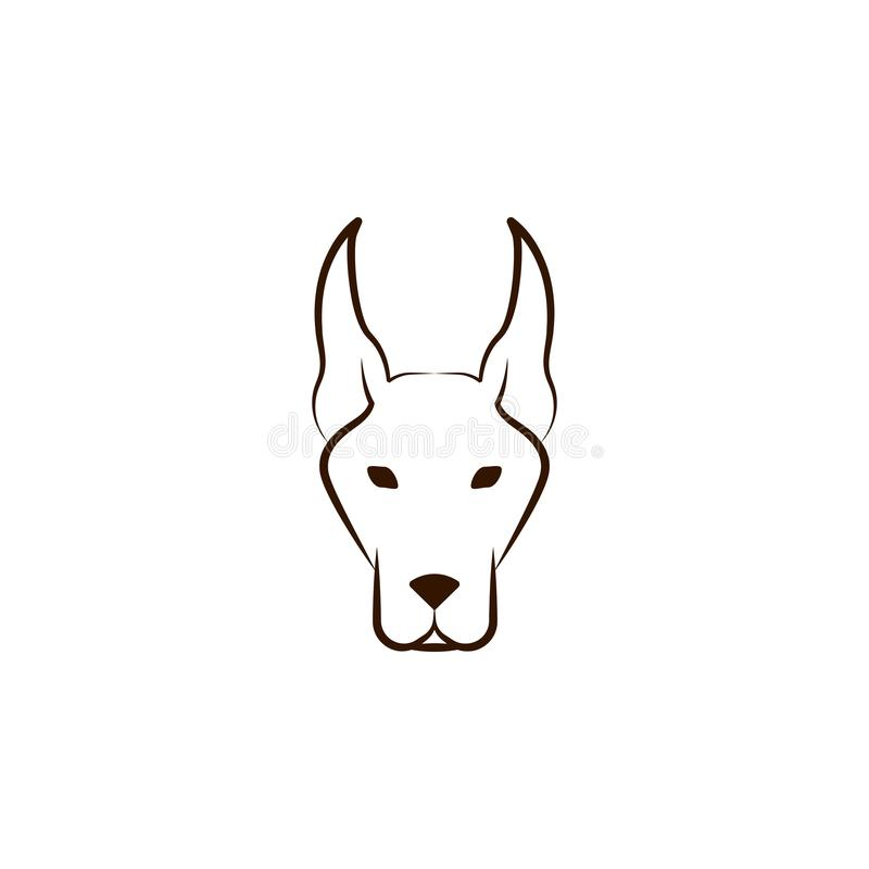 Doberman icon. One of the dog breeds hand draw icon royalty free illustration