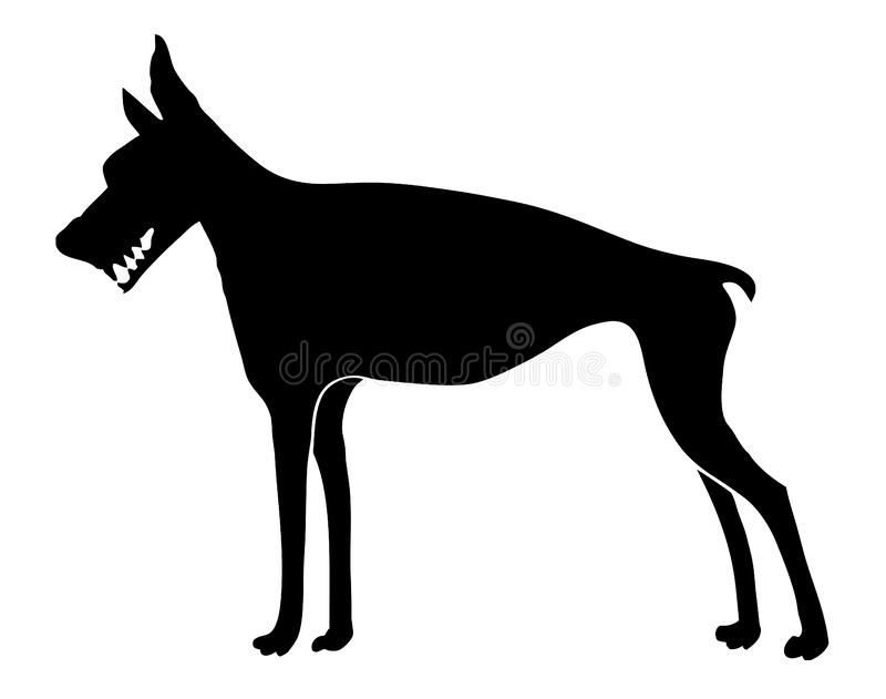 Doberman pinscher dog vector, beware of dog sign or tattoo stock photo