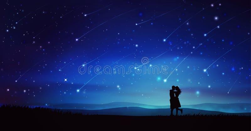 Dobiera się sylwetki pod meteorową prysznic, nocne niebo z gwiazdami royalty ilustracja