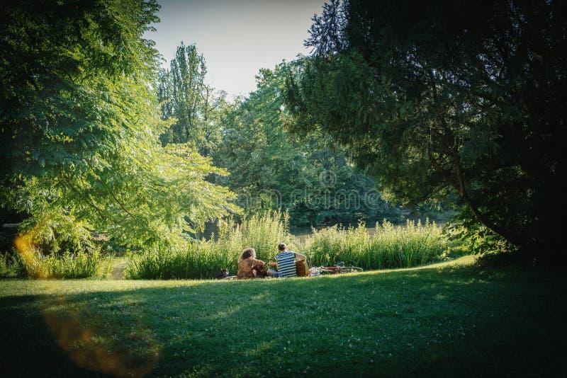Dobiera się bawić się gitarę w parkowym Francja tylni widoku zdjęcia royalty free