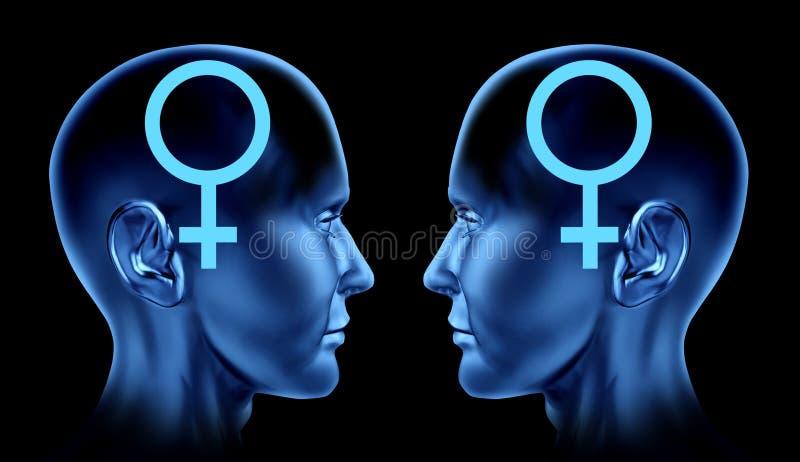 dobiera się homoseksualnego homoseksualisty zagadnień lesbian plciowe kobiety royalty ilustracja