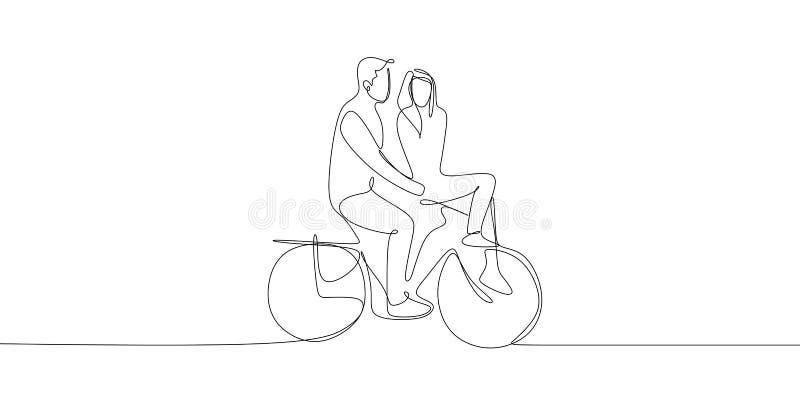 Dobiera się jechać rower z romantycznym pary pojęciem Poślubiać i valentine projektujemy używać ciągłą kreskowego rysunku wektoru royalty ilustracja