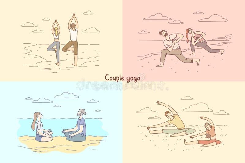 Dobiera się joga, mężczyzny i kobiety medytację na naturze, siedzi w lotosowej pozie, chłopak, dziewczyna przy pilates klasowym s ilustracja wektor