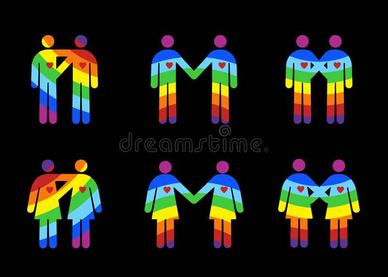 dobiera się lesbian homoseksualnych piktogramy ilustracji