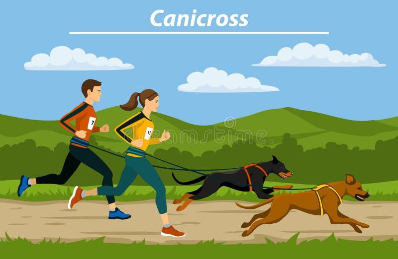 Dobiera się, mężczyzna i kobiety cani crossiing z ich psami plenerowymi, ilustracja wektor