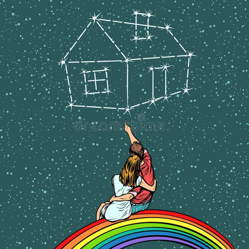Dobiera się mężczyzna i kobiety marzy dom royalty ilustracja