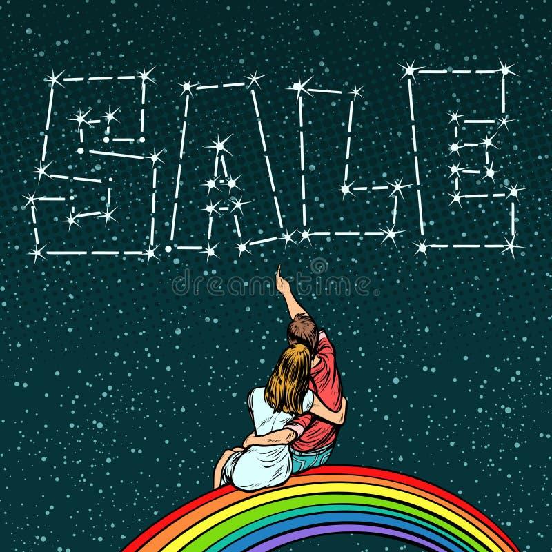 Dobiera się mężczyzna i kobiety marzy sprzedaż ilustracja wektor