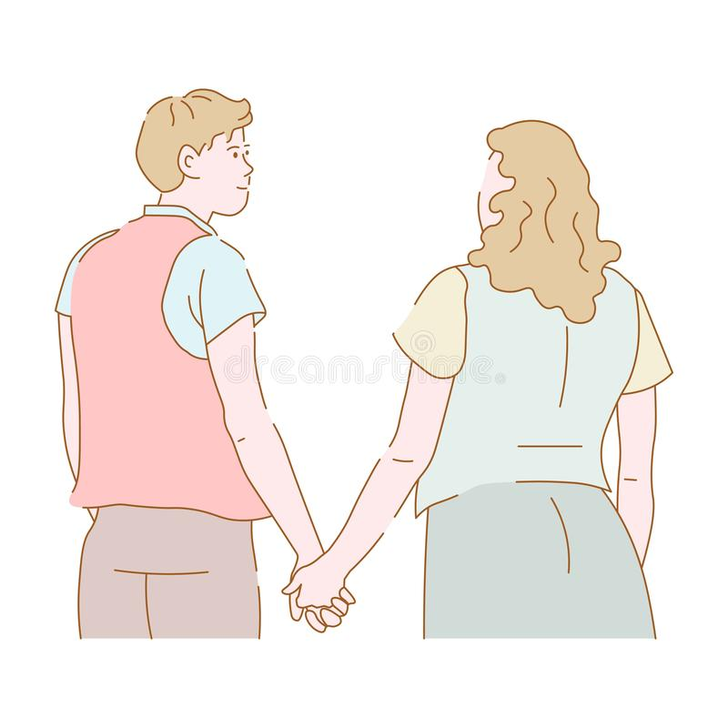 Dobiera się mężczyzny i kobiety w miłości trzyma ręk chodzić ilustracja wektor