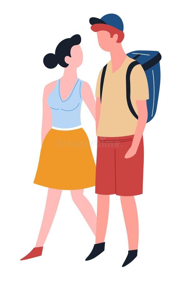 Dobiera się miłość podróżnego mężczyzny z plecakiem i kobieta odizolowywającymi charakterami royalty ilustracja