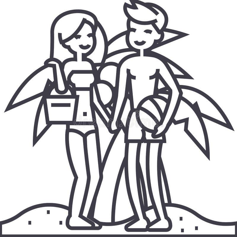 Dobiera się na plaży, wakacje, kobiecie, mężczyzna z piłką i torba wektoru linii ikonie, znak, ilustracja na tle royalty ilustracja