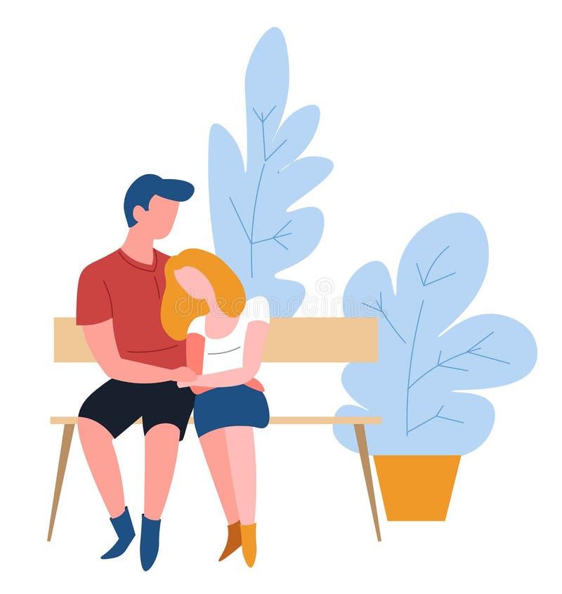 Dobiera się przytulenie na ławki romantycznej dacie w parkowej miłości ilustracji