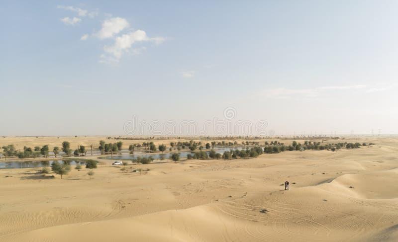Dobiera się w Al Qudra pustynnych pobliskich jeziorach zdjęcia royalty free
