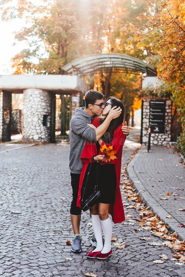 Dobiera się w miłości chodzi w jesieni ulicach fotografia royalty free