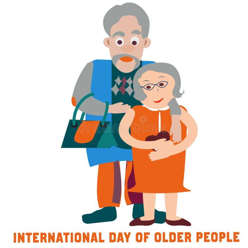 Dobiera się w miłości dla dnia starzy ludzie Płaski nowożytny wektor ilustracji