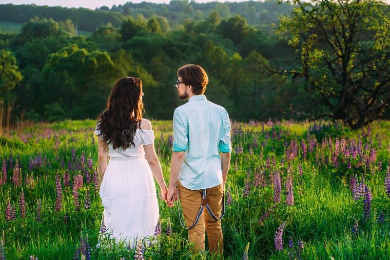 Dobiera się w miłości podziwia pięknego krajobraz wpólnie, trzymający brzęczenie zdjęcie royalty free