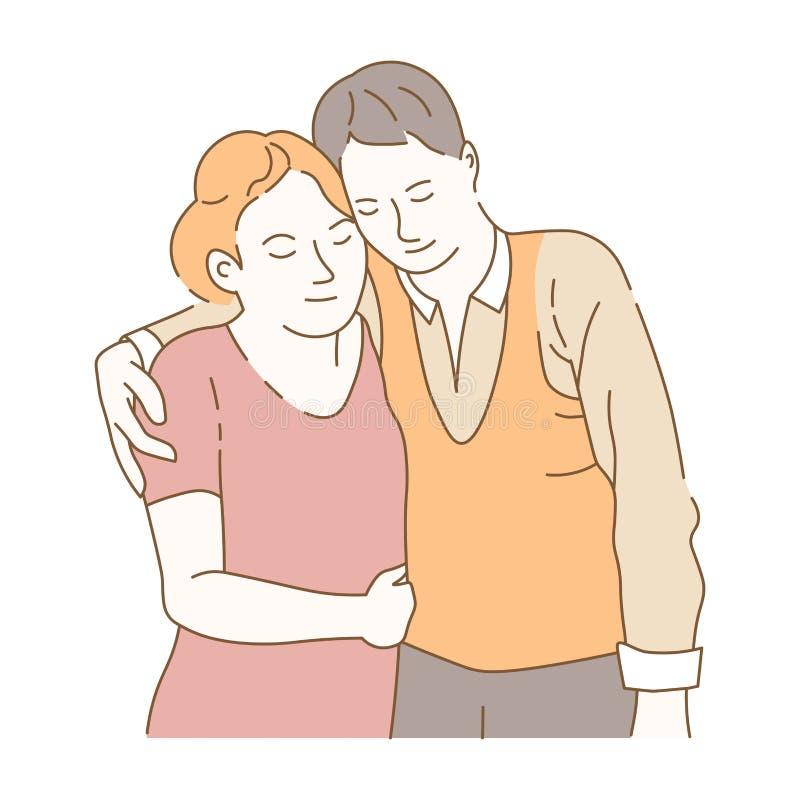 Dobiera się w miłości wydaje czas kochliwość ludzie wpólnie ilustracja wektor
