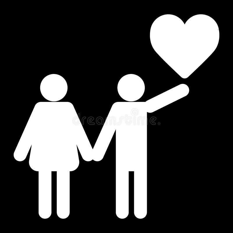 Dobiera się w miłości z kierowym ikona wektorem, wypełniający mieszkanie znak, stały piktogram odizolowywający na czerni Miłość s ilustracji