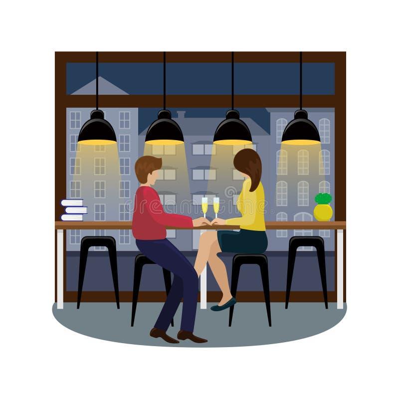 Dobiera się w miłości z szampanem przy barem przy panoramicznym okno w kawowym domu 1 lotu ptaka s royalty ilustracja