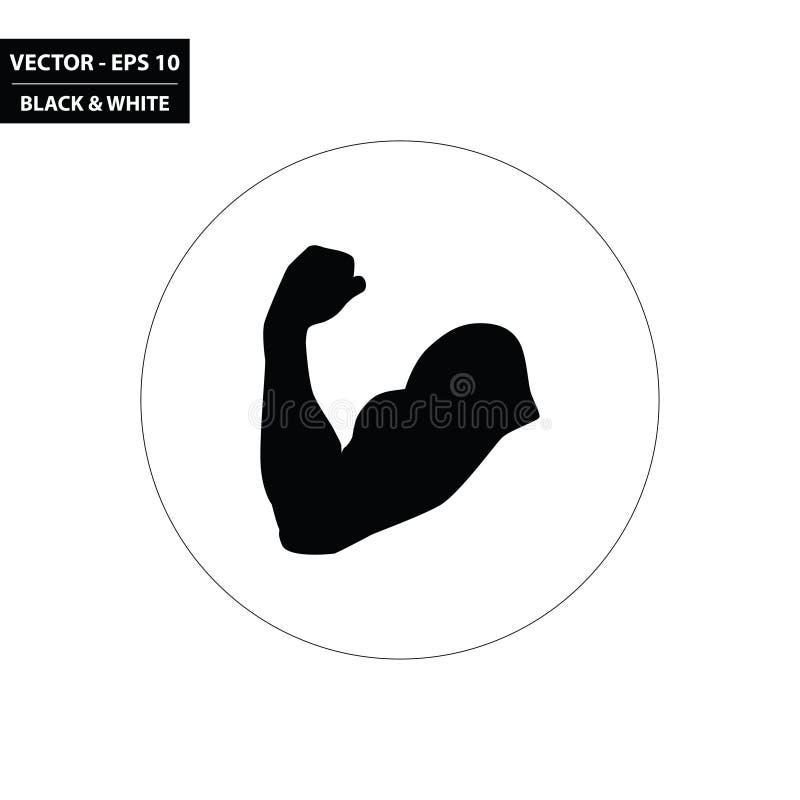 Doblando el brazo - icono plano blanco y negro del músculo libre illustration