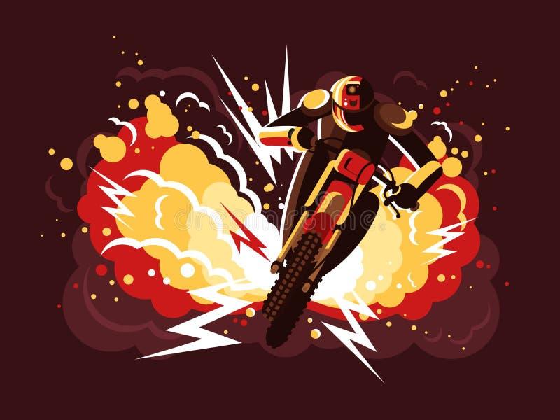 Doble en la motocicleta stock de ilustración