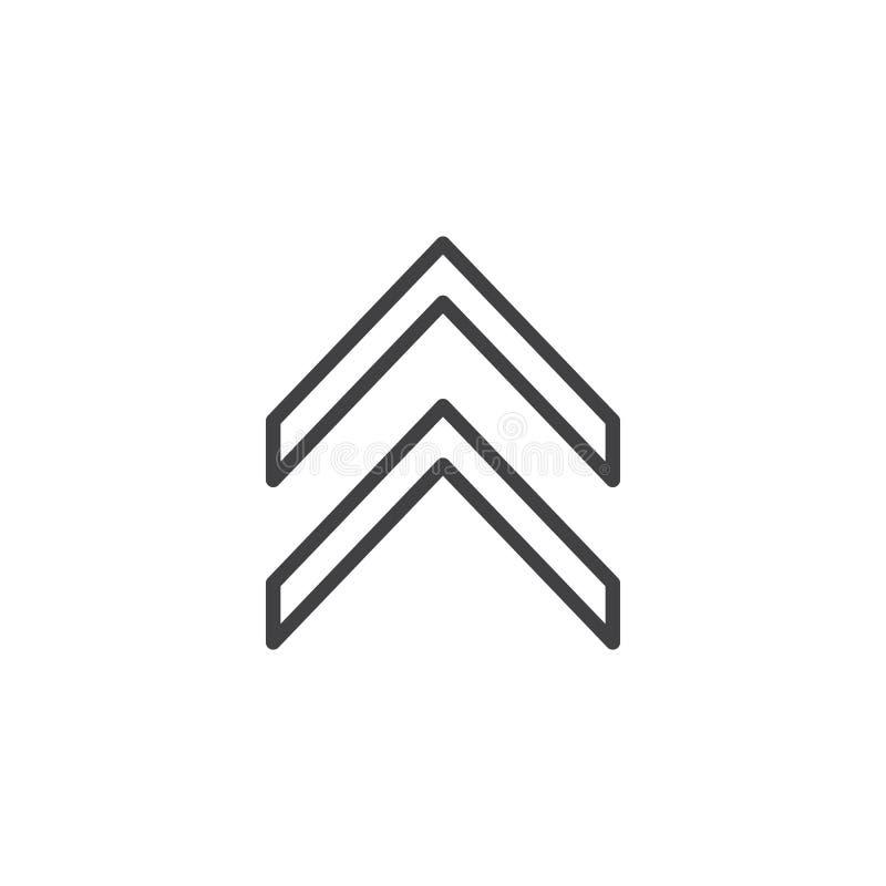 Doble para arriba la línea icono de la flecha libre illustration